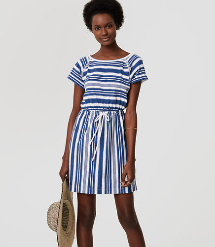 Image of LOFT Beach Striped Cutout Drawstring Tee Dress