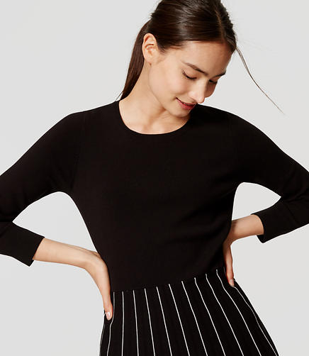 Image of Petite Striped Skirt Sweater Dress