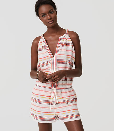 Image of LOFT Beach Striped Halter Romper