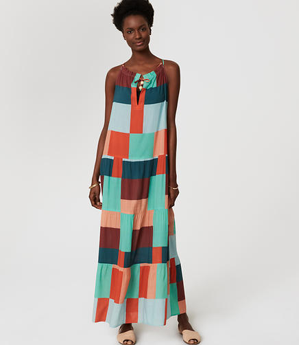 Image of LOFT Beach Squared Halter Maxi Dress