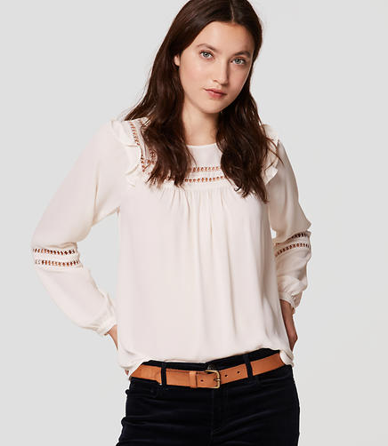 Image of Lacy Ruffle Shoulder Blouse