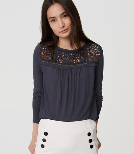 Image of Lace Yoke Shirttail Tee