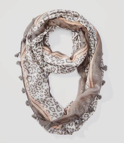 Image of Tasseled Leopard Print Infinity Scarf