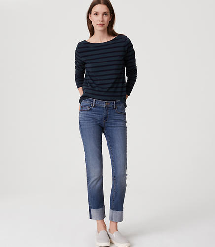 Image of Petite Curvy Frayed Cuff Straight Leg Jeans in Classic Dark Indigo Wash