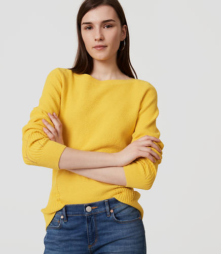 Image of Petite Stitchy Boatneck Sweater