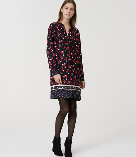 Image of Floral Border Split Neck Shirtdress