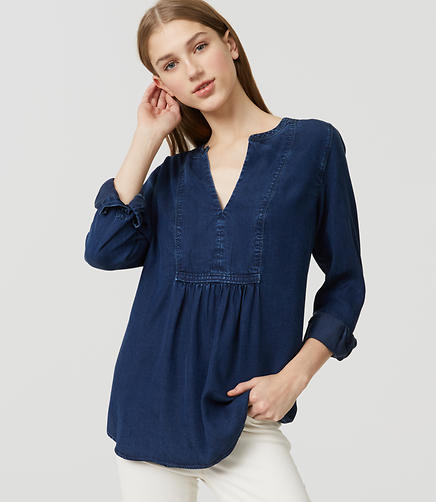 Image of Petite Chambray Bib Shirt