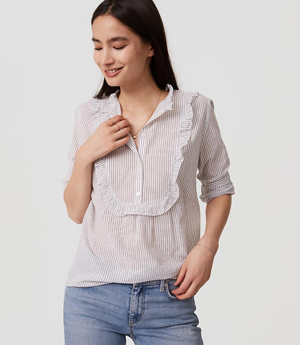 Image of Striped Ruffle Bib Shirt