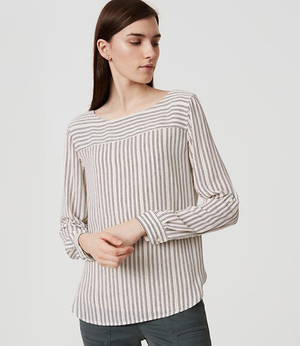 Image of Striped Tab Sleeve Blouse