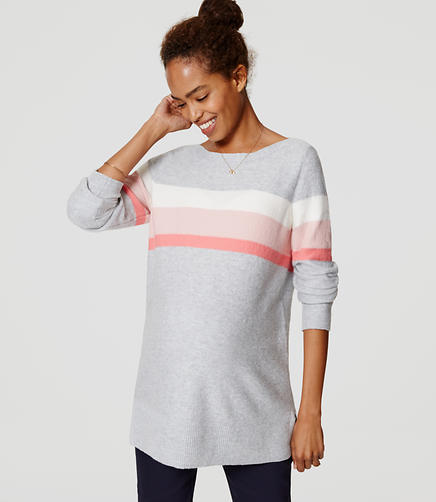 Image of Maternity Striped Boatneck Tunic Sweater