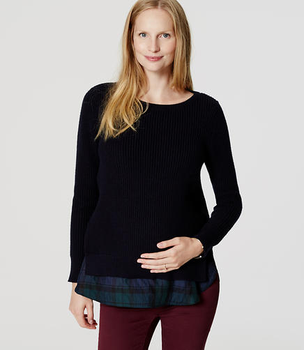 Image of Maternity Plaid Ribbed Two-In-One Sweater