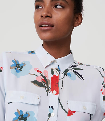 Image of Petite Floral Breeze Utility Blouse