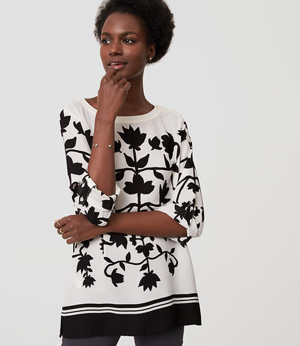 Image of Petite Shadow Floral Blouse