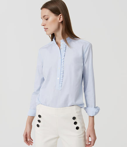 Image of Ruffle Softened Shirt