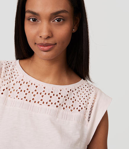 Image of Diamond Eyelet Yoke Tee