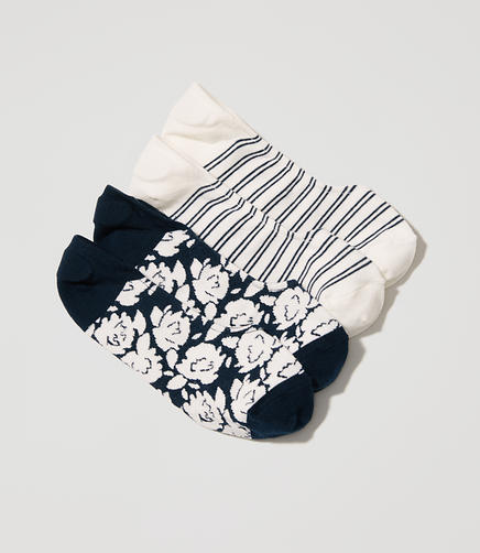 Image of Gardenia & Stripe No Show Sock Set