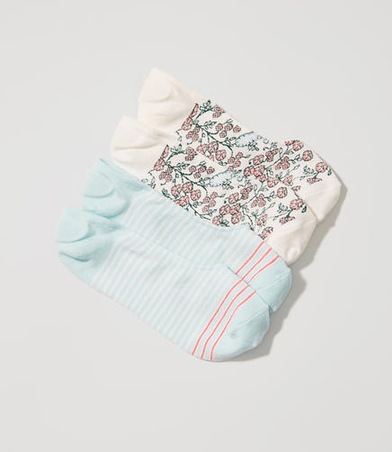 Image of Paisley & Stripe No Show Sock Set