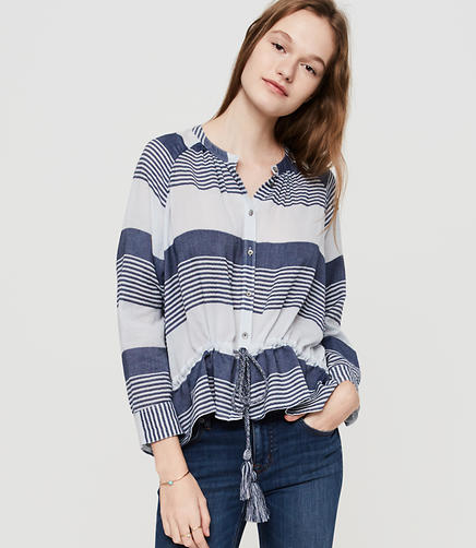 Image of Lou & Grey Striped Drawstring Button Down Shirt