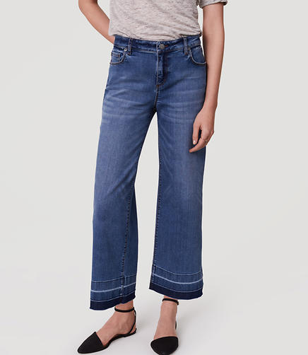 Image of Modern Wide Leg Crop Jeans in Vintage Indigo Wash