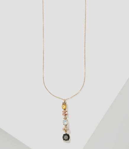 Image of Stacked Crystal Pendant Necklace
