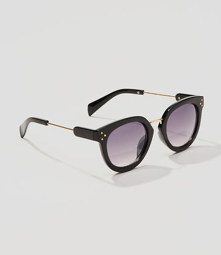Image of Metallic Trim Round Sunglasses