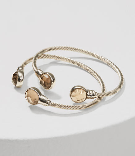 Image of Twist Stone Cuff Bracelet Set