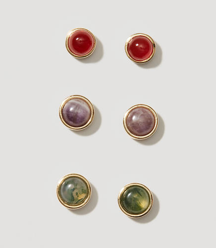 Image of Multicolored Stone Stud Earring Set