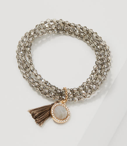 Image of Tasseled Beaded Stretch Bracelet