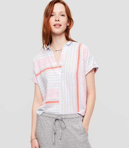 Image of Lou & Grey Mixstripe Short Sleeve Pop On Shirt