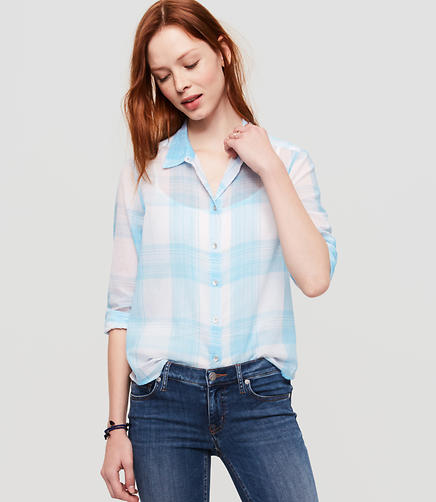 Image of Lou & Grey Plaid Cropped Button Down Shirt