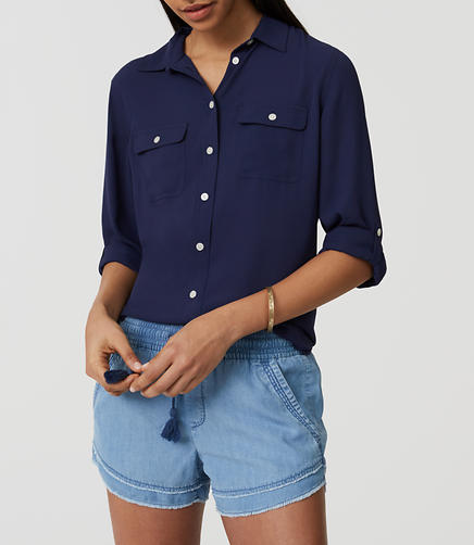 Image of Chambray Drawstring Shorts in Light Indigo Wash