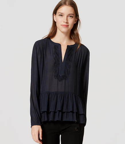 Image of Lacy Split Neck Peplum Blouse