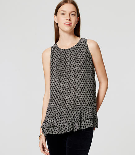 Image of Dotted Double Peplum Shell