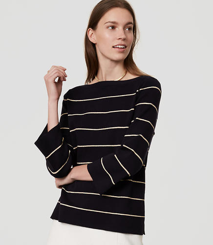 Image of Shimmer Stripe Boatneck Sweater