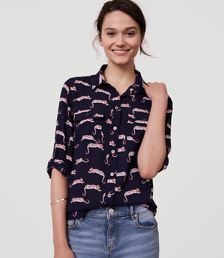 Image of Petite Leopard Utility Blouse