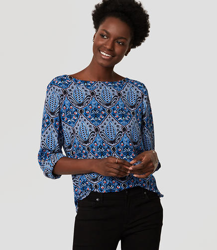 Image of Petite Baroque Tab Sleeve Blouse
