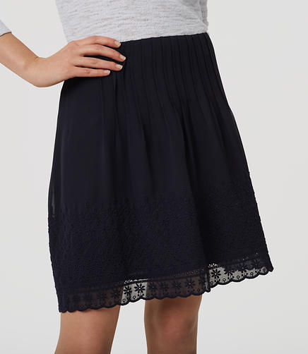 Image of Daisy Embroidered Pintuck Skirt