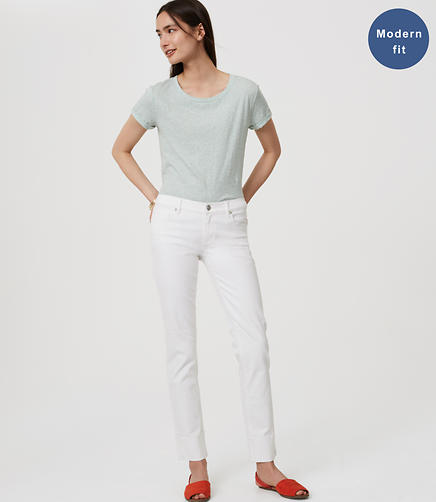 Image of Tall Modern Frayed Cuff Straight Leg Jeans in White