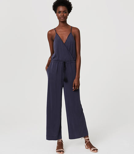 Image of LOFT Beach Lacy Drawstring Jumpsuit