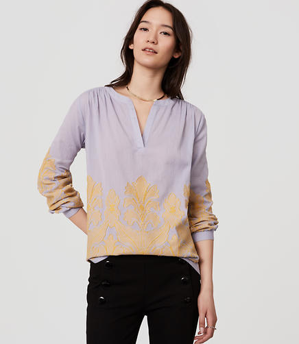 Image of Leafed Split Neck Blouse