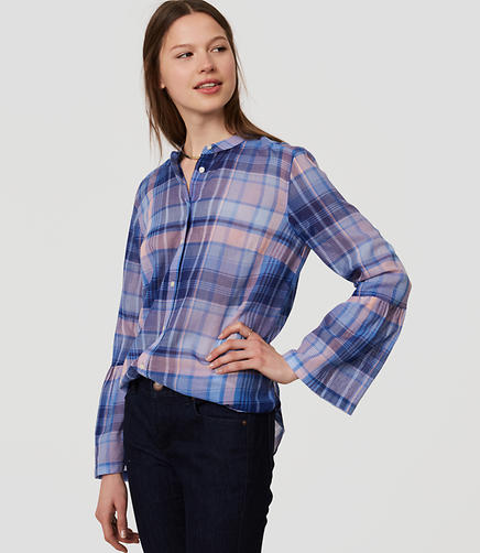 Image of Plaid Bell Sleeve Softened Shirt