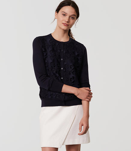 Image of Petite Cutout Lace Cardigan