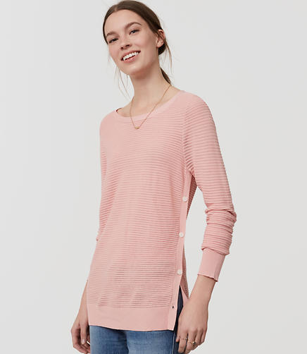 Image of Petite Striped Side Button Sweater