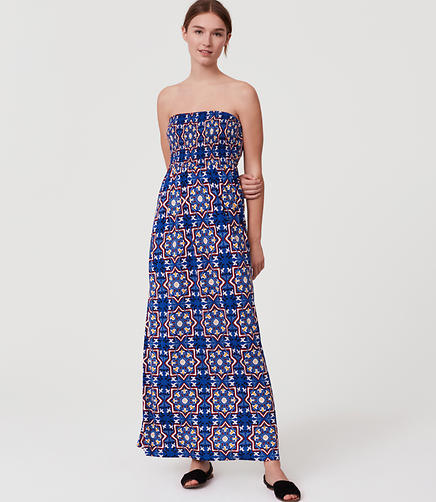 Image of LOFT Beach Kaleidoscope Strapless Maxi Dress
