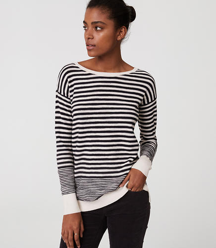 Image of Petite Stripe Textured Sweater Tunic