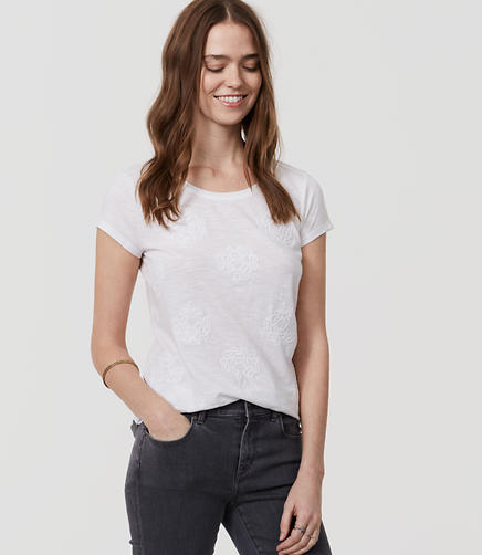 Image of Petite Embroidered Floral Ballet Neck Tee