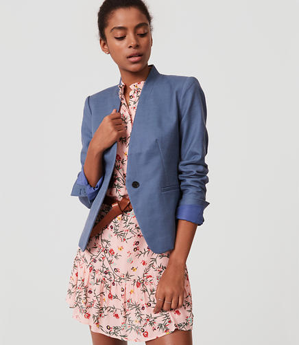 Image of Tall Basketweave Collarless Blazer
