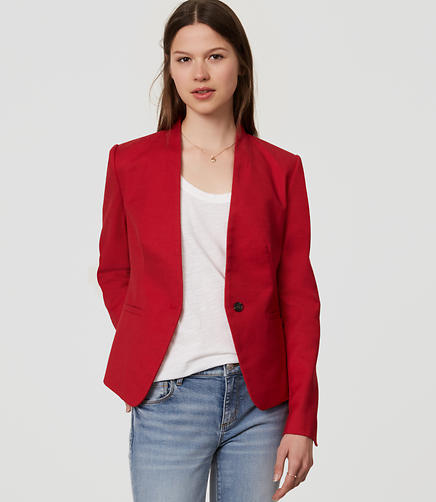 Image of Petite Basketweave Collarless Blazer