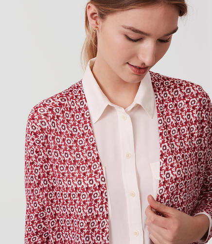 Image of Petite Floral Fine Knit Open Cardigan