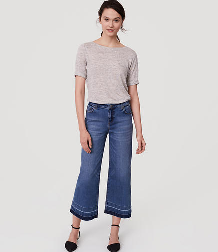 Image of Petite Modern Wide Leg Crop Jeans in Vintage Indigo Wash